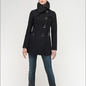 Mackage Isa Asymmetrical Black Wool Coat